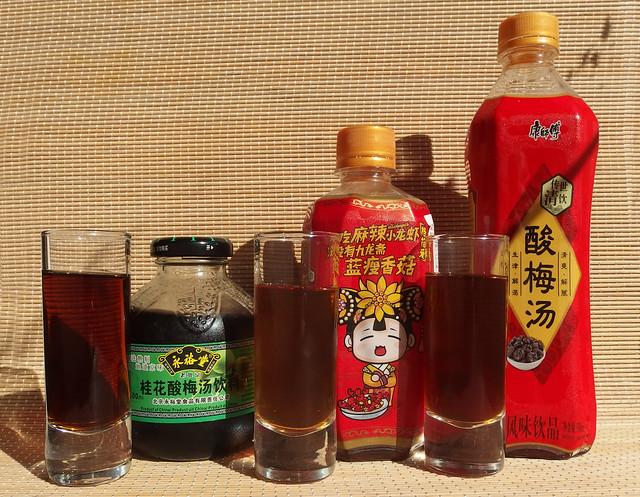 Drie soorten Chinese zure pruimen thee