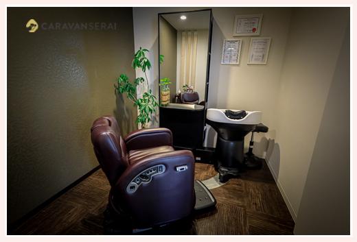 美容室内の個室 専用空間でエイジングケア
