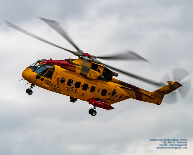 An AgustaWestland CH-149 Cormorant Flying in the 2019 Abbotsford Airshow Overcast