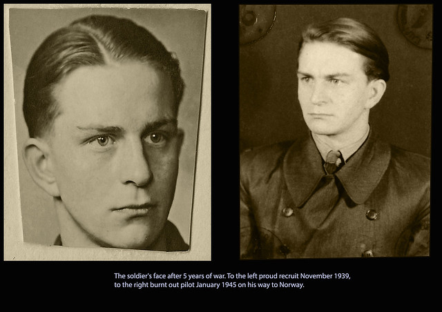 to the left proud recruit November 1939, to the right burnt out pilot January 1945 on his way to Norway.