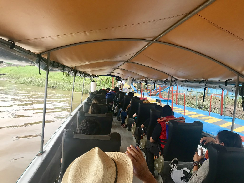 Ecuador, Amazon Basin, our boat for travelling up the vast River Napo (a tributary of the Amazon), 17 Jan 2019