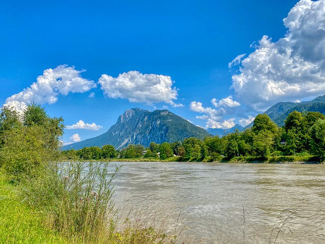River Inn with Zahmer Kaiser mountain range in Tyrol, Austria