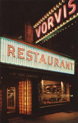 ontario guelph vintage restaurant postcard nightview