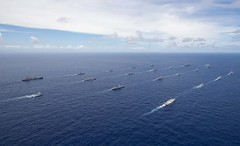 Ships and a submarine from 10 nations steam in formation during the RIMPAC group sail. (U.S. Navy/MC1 Rawad Madanat)
