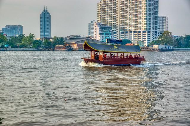 Shuttle Boat of the Anantara Riverside Resort on the Chao Phraya river in Bangkok, Thailand