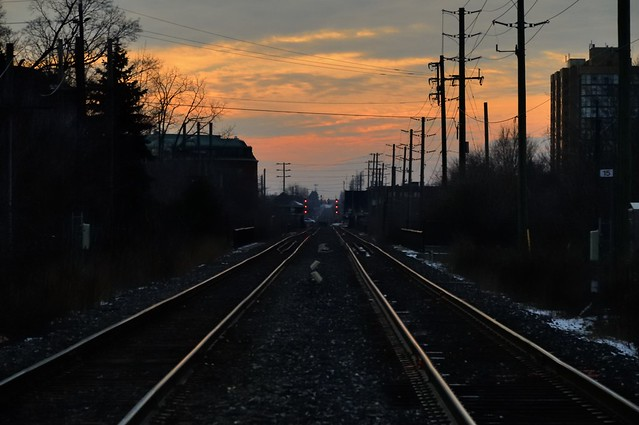Canadian National Railway tracks at sunset - Brampton, Ontario..
