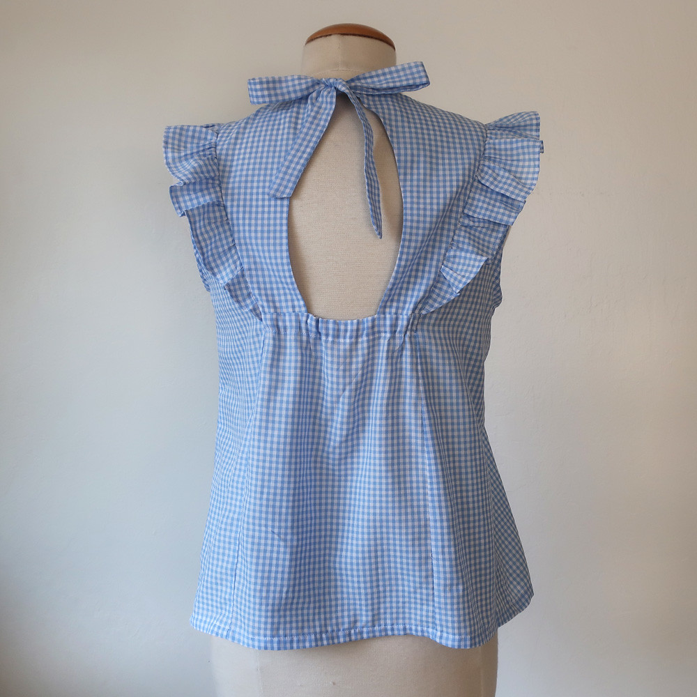 Firbremood gingham top back view on form