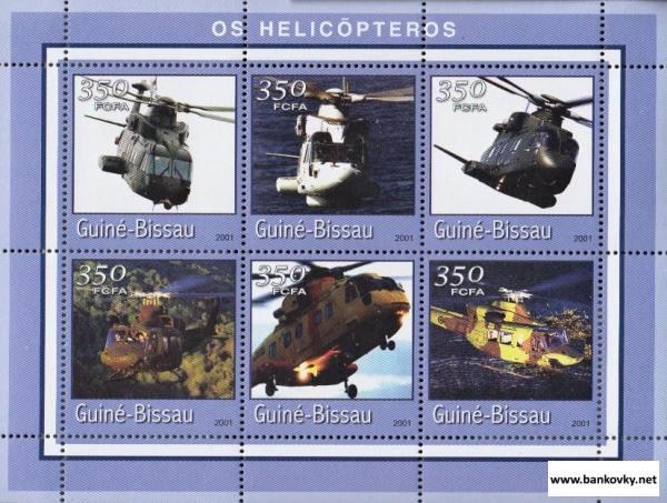 Známky Guinea-Bissau 2001 Bratia Helikoptéry MNH hárček