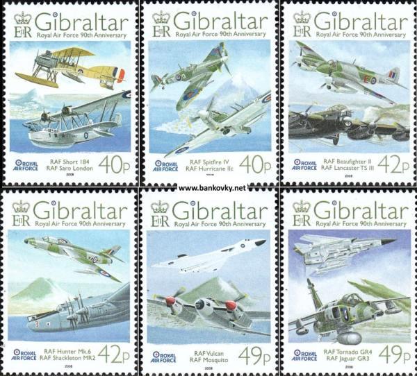 Známky Gibraltar 2008 Letectvo RAF neraz. séria MNH