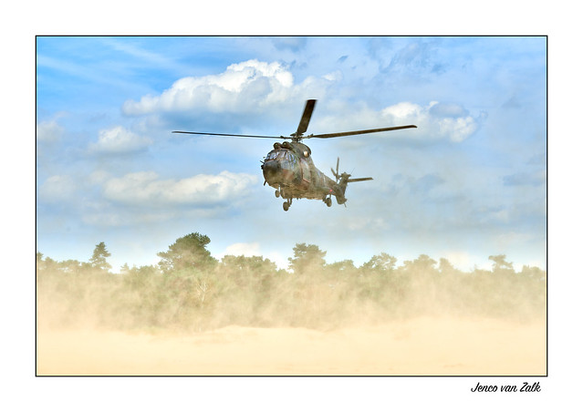 Dusty landing Cougar transport helicopter