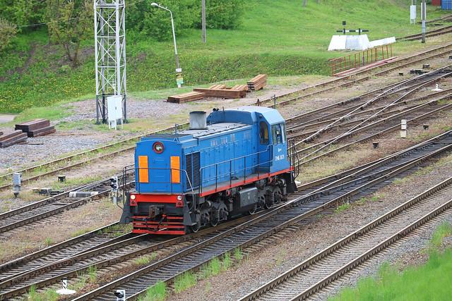 Маневровый тепловоз ТГМ4Б-626 на станции Могилёв-1 (Беларусь).