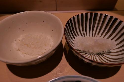 農林一号(左),合鴨農法つや姫(右)