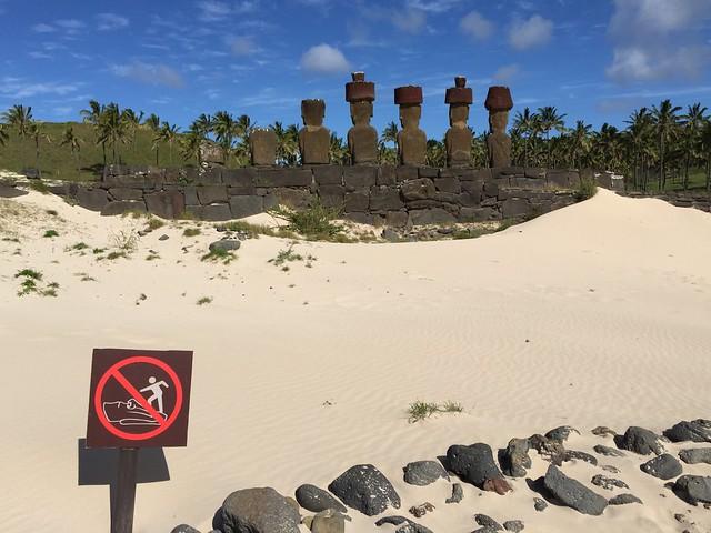 The Back Wall of the Ahu Nau Nau, Anakena Beach, Rapa Nui (Easter Island), Polynesia, Chile, Oceania.
