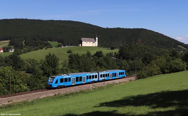 Alstom Coradia iLint 654 101 als SLP 96870, Unterhöflein