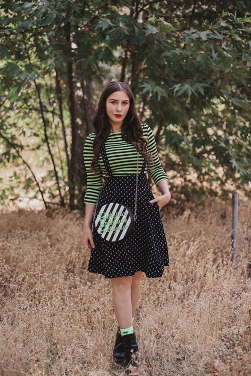Unique Vintage Neon Green & Black Stripe Gracie Top