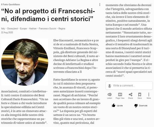 """ROMA ARCHEOLOGICA & RESTAURO ARCHITETTURA 2020. """"No al progetto di Franceschini, difendiamo i centri storici."""" Il Fatto Quotidiano.it (22/08/2020)."""
