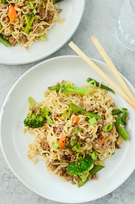 Asian Beef Noodles - easy 30 minute dinner using ground beef, ramen noodles, and frozen stir fry vegetables! This is a kid and adult favorite!