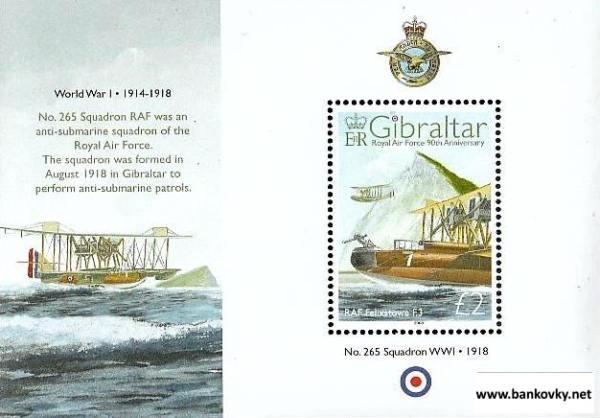 Známky Gibraltar 2008 RAF neraz. hárček MNH
