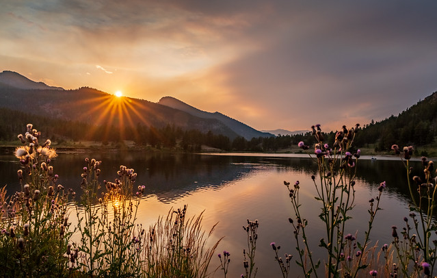 Sunset Over Lily Lake in Rocky Mountain National Park