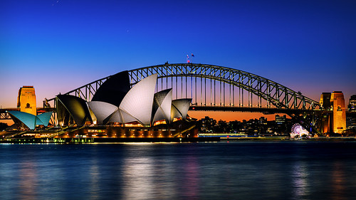 australia sydney sydneyoperahouse sydneyharbourbridge mrsmacquarieschair sunset dusk bluehour mrsmacquariespoint