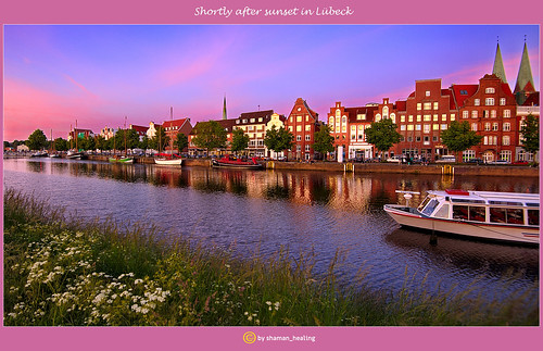 lübeck travel sonnenuntergang sunset fluss river himmel sky schleswigholstein deutschland germany stadt city altstadt natur nature