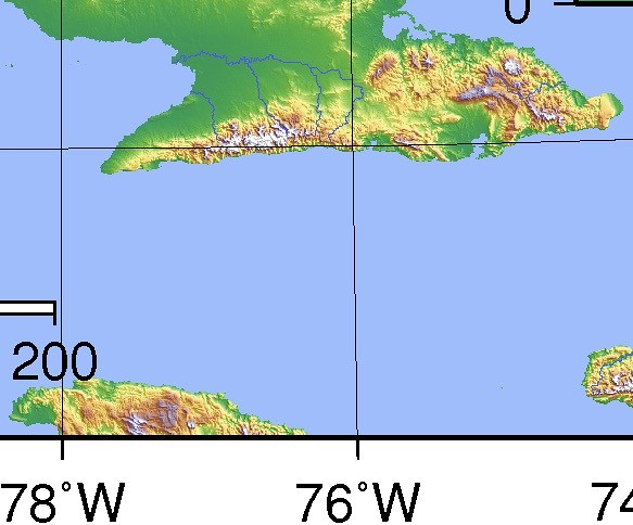Southeast Cuba Topography - https://commons.m.wikimedia.org/wiki/File:Cuba_Topography.png