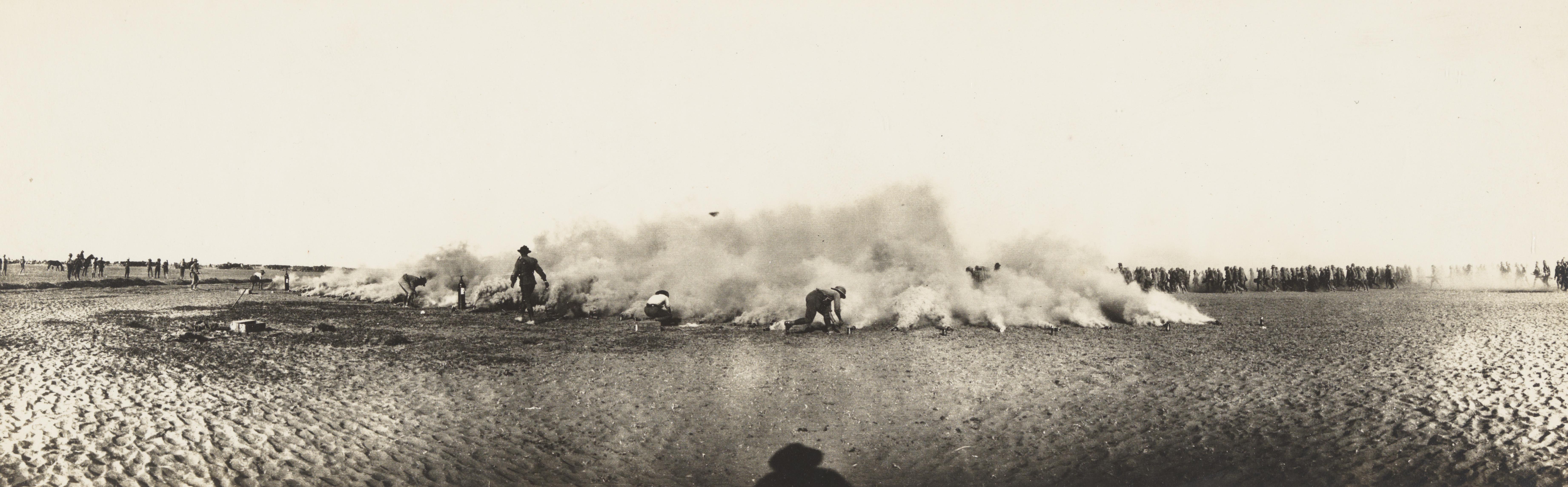 Smoke bombs demonstration, Australian troops, attrib. Palestine, ca. 1916-1917, James Allan Chauvel