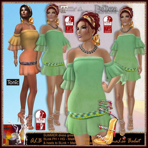 MONTH FREE - ALB SUMMER dress green & heels & headwrap