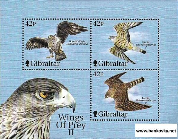 Známky Gibraltar 2000 Draví vtáci neraz. séria MNH