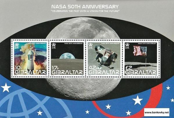 Známky Gibraltar 2008 50 rokov NASA neraz. séria MNH