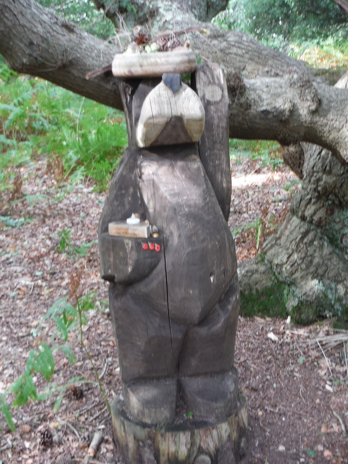 Wooden Sculpture in Fittleworth Common SWC Walk 39 - Amberley to Pulborough