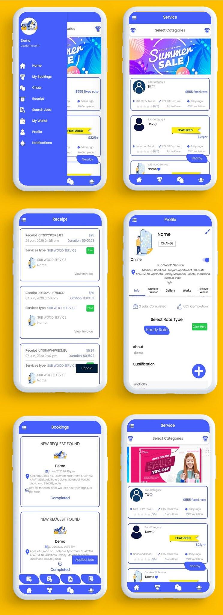 U Clab Service App | Service At Home | Multi Payment Gateways Integrated | Multi Login - 2