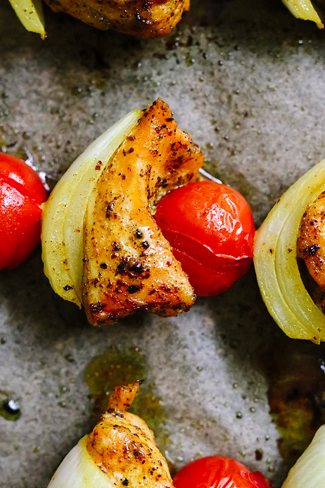 Spiced Salmon Skewers with Parsley Oil