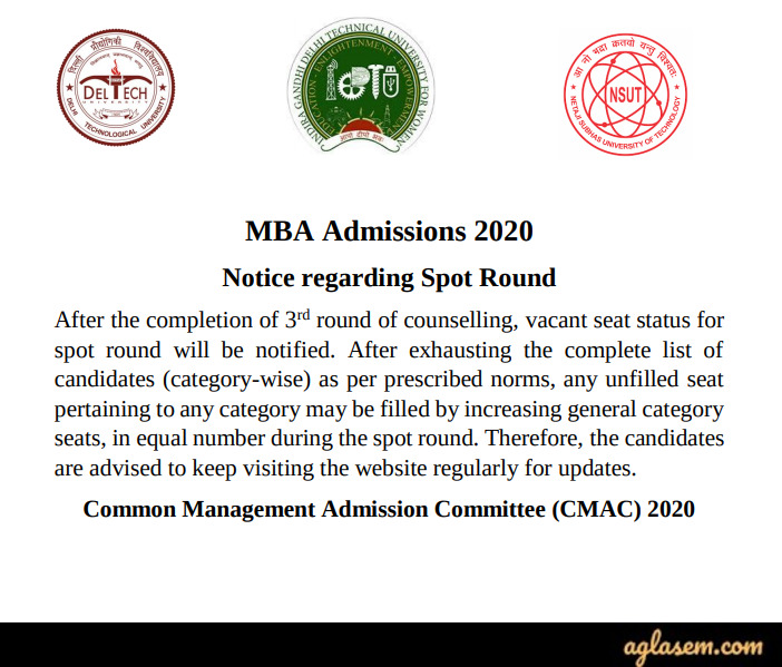 DTU MBA Admission 2020 - Notice for Spot Round
