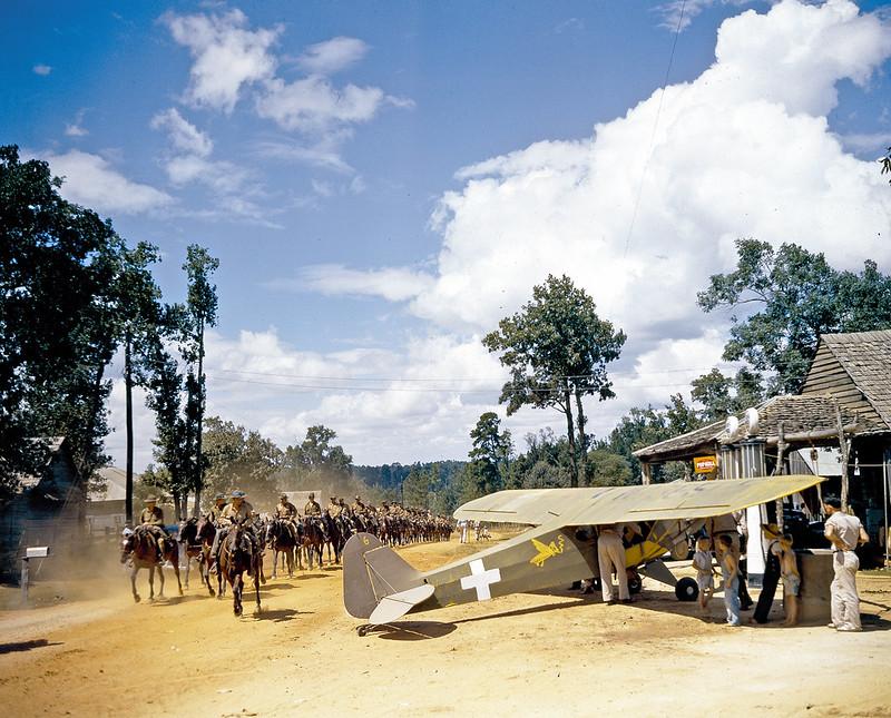 A U.S. Army cavalry squadron trots past a Piper Cub