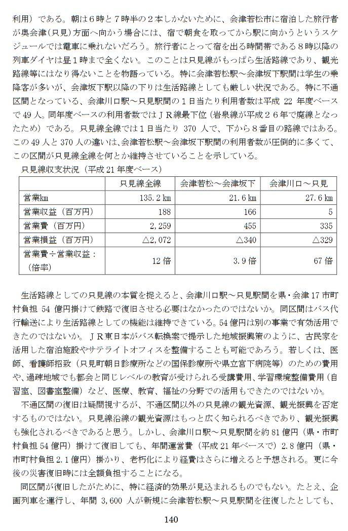 只見線復旧は税金の無駄遣いと福島県の監査報告 (15)