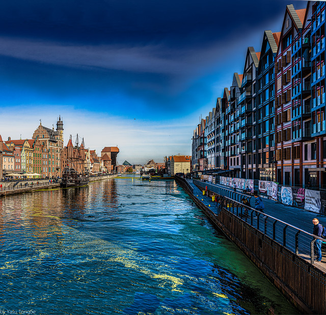 Multiphoto panorama of Motława river from the Green Bridge towards the Crane, Gdańsk, Poland.  765-Pano-Edit