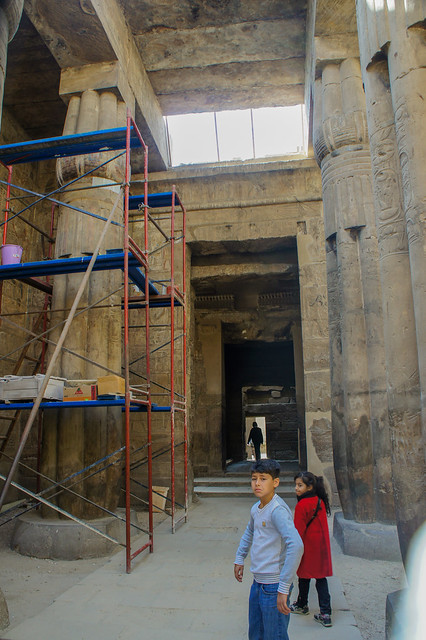 The restoration works inside the Luxor temple