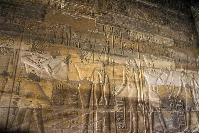 Ancient Egyptian hieroglyphics depicting Alexander the Great at Egypt's Luxor Temple