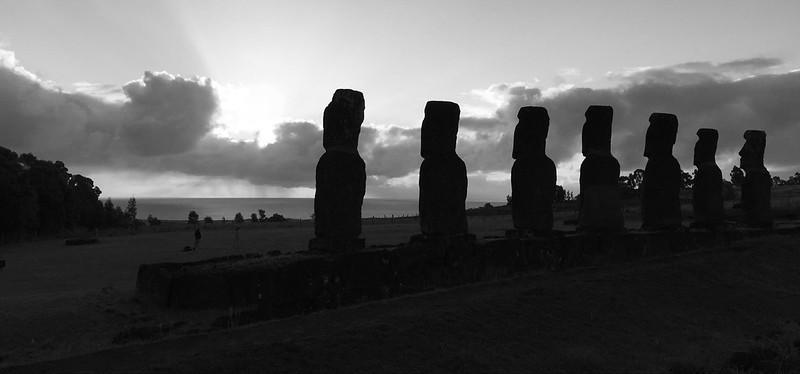 Sunset at the Ahu a Akivi, Rapa Nui (Easter Island), Chile, Polynesia, Oceania.