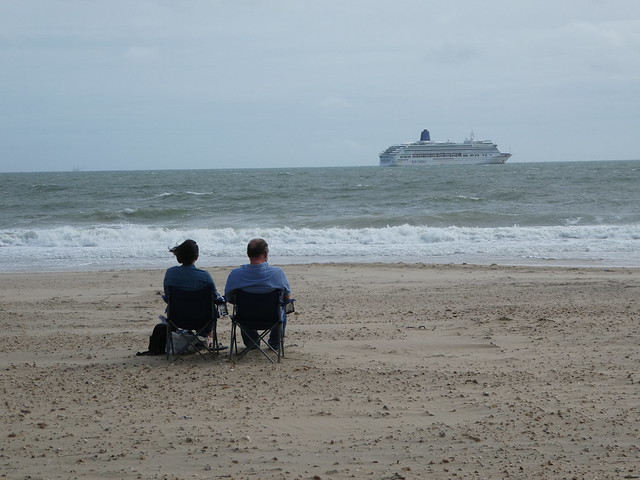 Cruise ship moored in Bournemouth bay