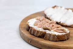 Bread with Cheese and Tuna fish spread