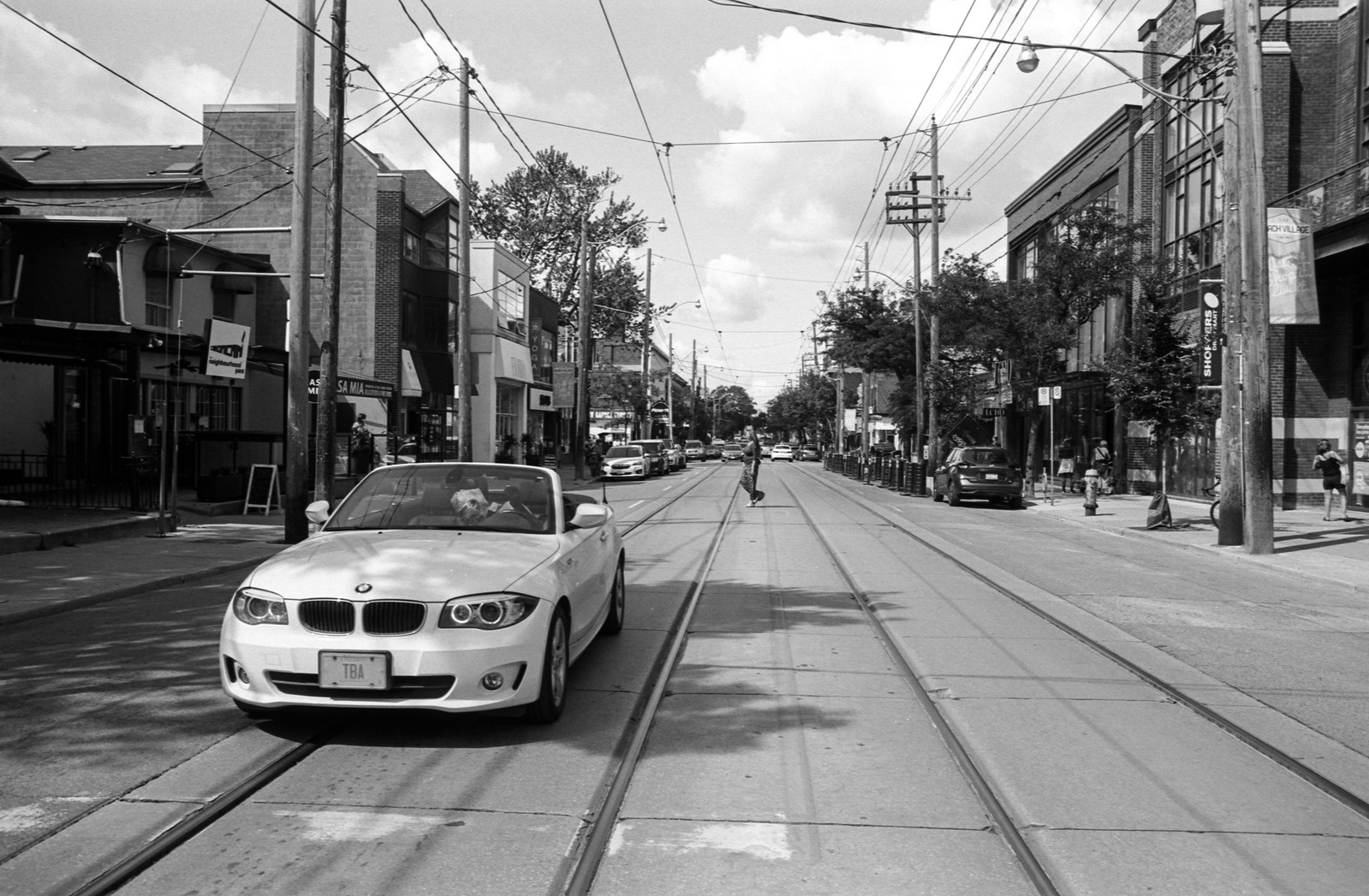 Middle of Quuen St. with a BMW