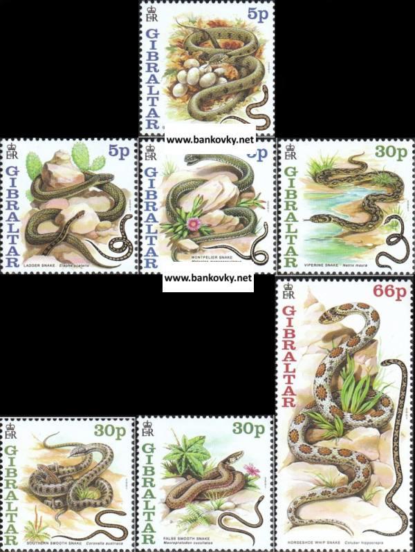Známky Gibraltar 2001 Hady neraz. séria MNH