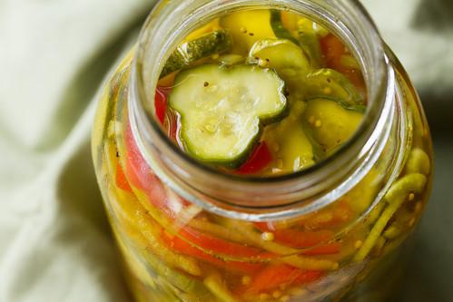 Closeup of Pickles in a Jar