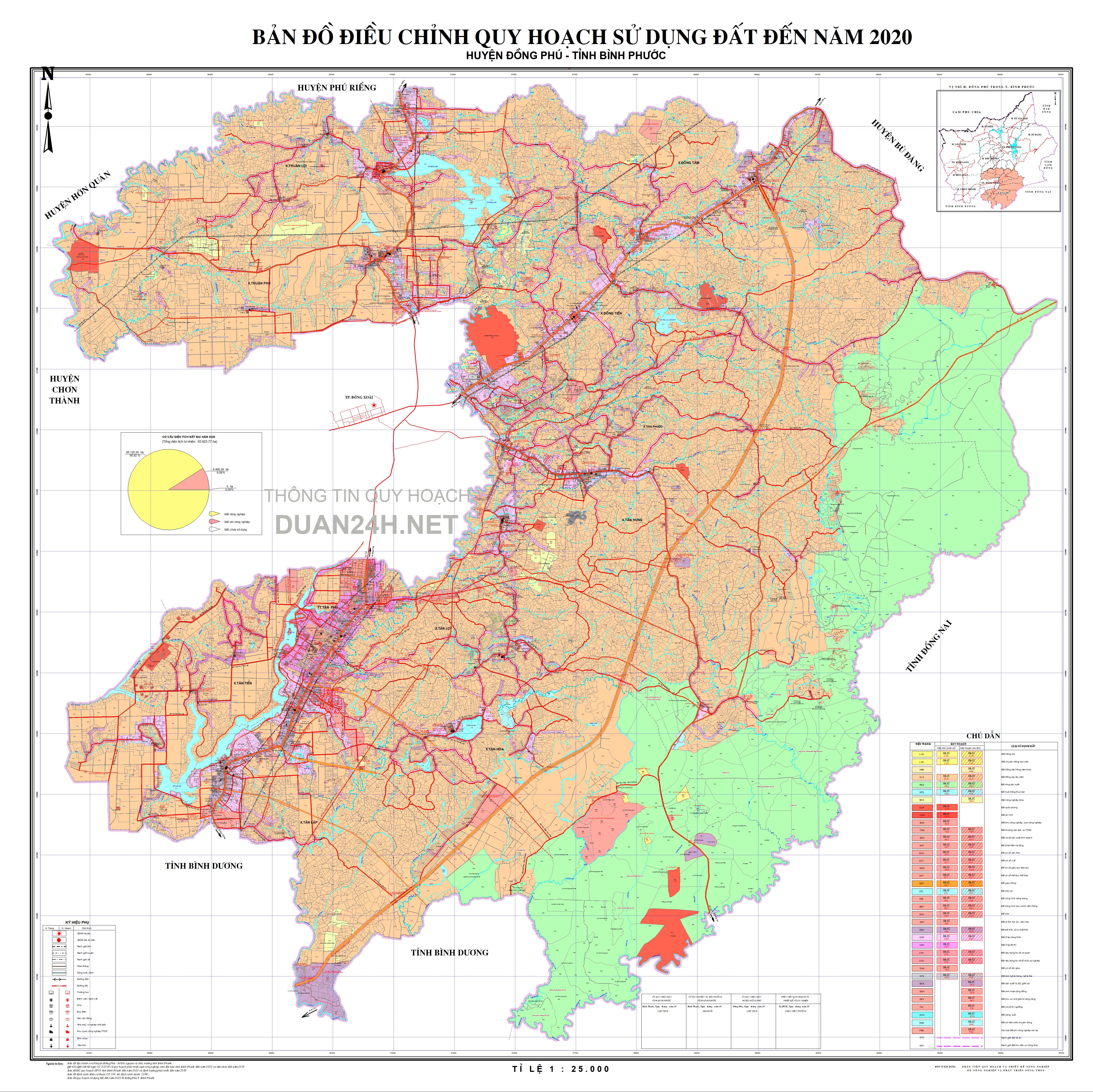 Bản đồ quy hoạch sử dụng đất huyện Đông Phú, tỉnh Bình Phước năm 2020
