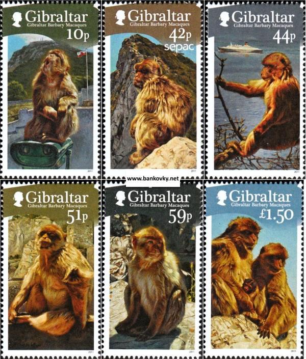Známky Gibraltar 2011 Opice neraz. séria MNH