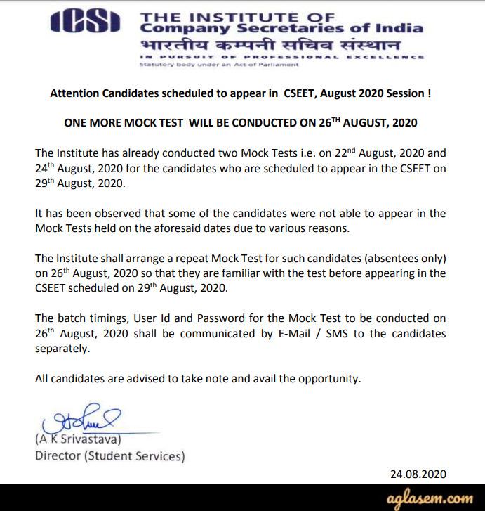 ICSI CSEET 2020 Mock Test Notice