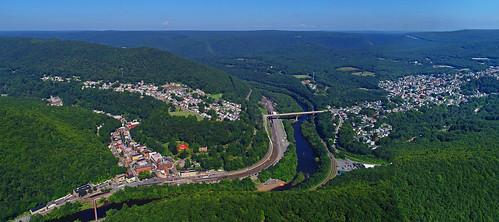 drone aerial life nature landscape peaceful town village mountains summer travel poconos dji lehigh river