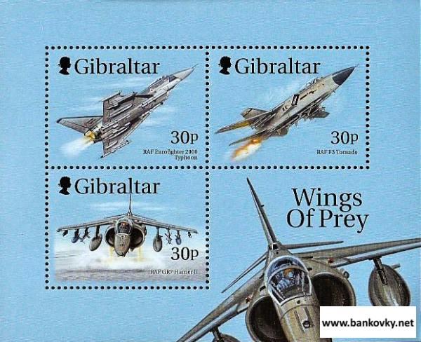 Známky Gibraltar 1999 Bojové lietadlá neraz. hárček MNH